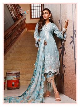 Shree Fabs Firdous Embroidered Lawn Collection Cotton Dupatta with Open Image